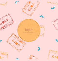 vintage audio tape cassette seamless pattern vector image vector image