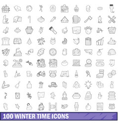 100 winter time icons set outline style vector image