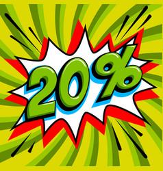 20 off twenty percent 20 off sale on green pop vector image