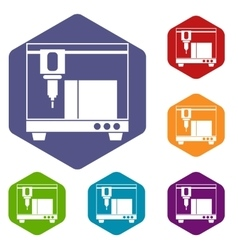 3D printer icons set vector