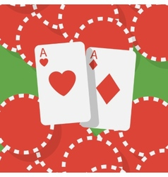 Aces and gambling chips vector image
