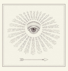 All-seeing eye eye in sky with light vector