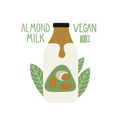 Almond milk in a cartoon bottle vegan milk vector