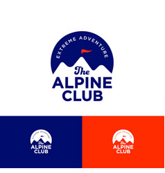 alpine club logo mountains peaks on circle vector image