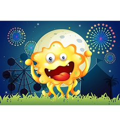 An orange monster at the carnival vector image