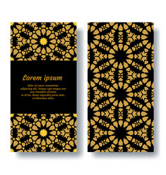 Arabic gold and black double card design for vector