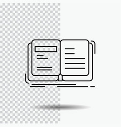 Author book open story storytelling line icon on vector