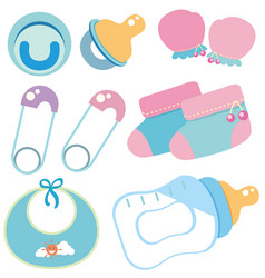 Baby items on white background vector