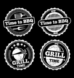 Bbq and grill time grunge labels design vector
