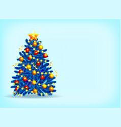 beautiful blue christmas tree vector image