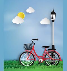 Bicycle in garden vector