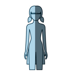 blue color shading silhouette faceless front view vector image