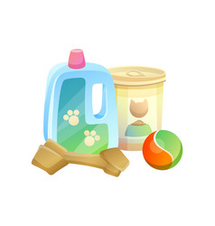 bottle and can pet shop items vector image