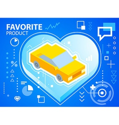 Bright heart and car on blue background for vector