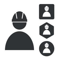 Builder icon set monochrome vector