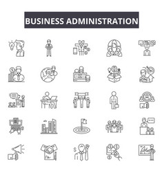 business administration line icons signs vector image