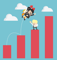 Business woman up to adjust an uptrend graph vector