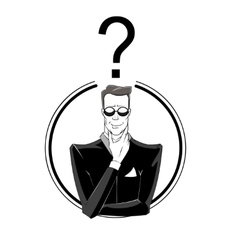 Businessman confused with red question mark vector
