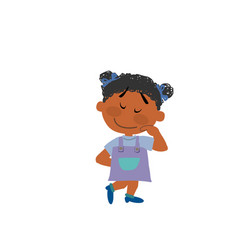 Cartoon character of a shy black girl vector