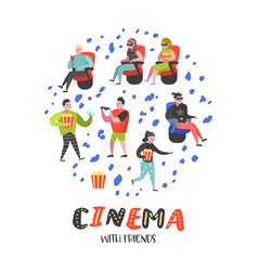 cartoon people with popcorn watching movie vector image