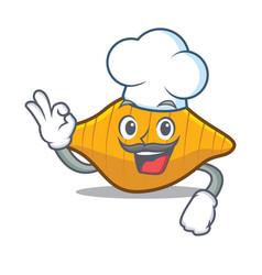 Chef conchiglie pasta character cartoon vector