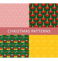 Christmas Colorful Seamless Patterns Set vector image