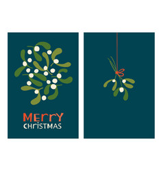 Christmas greeting cards with mistletoe vector