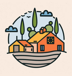 circular logotype with village landscape barn or vector image