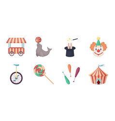 Circus and attributes icons in set collection for vector