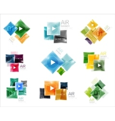 Collection of colorful square web boxes vector image
