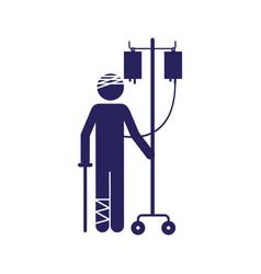 Color silhouette pictogram bandage patient vector