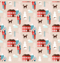Cute christmas and new year seamless pattern vector
