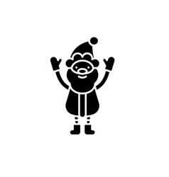 cute santa claus black icon sign on vector image