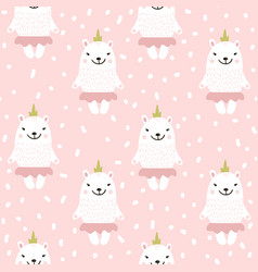 Cute seamless pattern with white baby bear vector