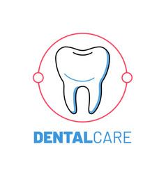 dental care logo with healthy tooth vector image