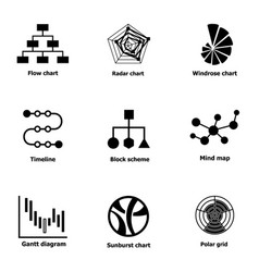 Directory icons set simple style vector