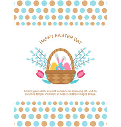 easter card template with basket and eggs vector image