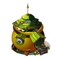 Fairy house with a roof of green wooden tiles vector