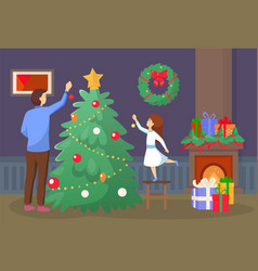family preparation for christmas at home vector image