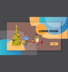 family walking with colorful paper bags merry vector image