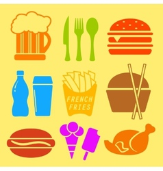 fast food ingredient icon set vector image