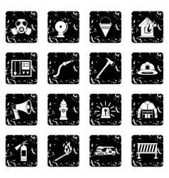 Fireman tools icons set vector