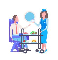 Flight stewardess serving drinks and food vector