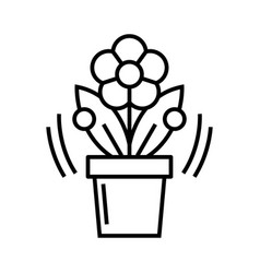 flower in a pot line icon concept sign outline vector image