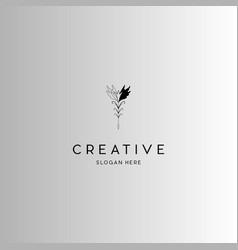 Flower ink creative abstract logo design vector