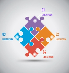 Four Puzzle Infographic Template vector image