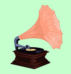 Gramophone with rose colored shade - phonograph vector