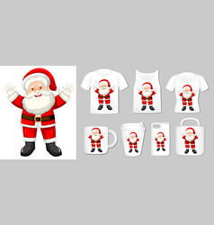 Graphic santa claus on different product vector