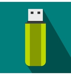 Green USB flash drive icon flat style vector