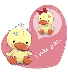 Greeting card cute dreaming duckling vector